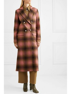 Mother Of Pearl mable embellished double-breasted checked wool coat