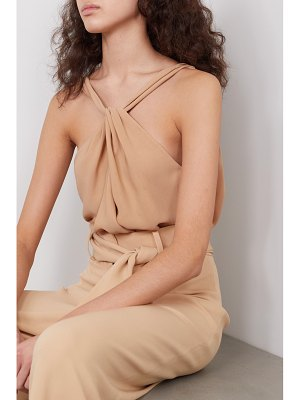 Mother Of Pearl net sustain open-back twist-front crepe top