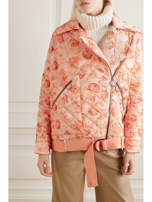 Mother Of Pearl net sustain quilted floral-print satin biker jacket
