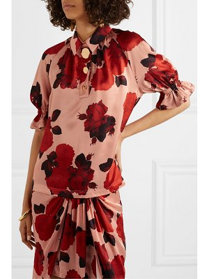 Mother Of Pearl petra embellished floral-print ruched satin blouse