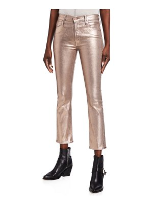 Mother The Dazzler Metallic Mid-Rise Ankle Jeans