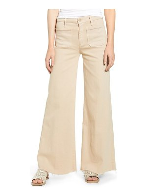 Mother the patch pocket roller high waist fray hem wide leg khaki pants
