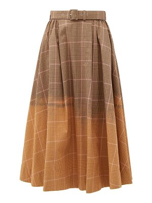 MSGM faded checked cotton midi skirt