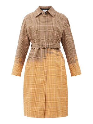 MSGM faded checked single-breasted cotton trench coat