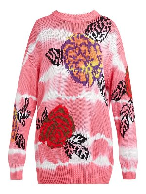 MSGM floral-intarsia tie-dye cotton sweater