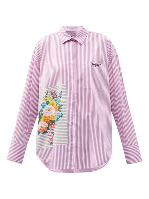 MSGM floral-patch striped cotton-blend shirt