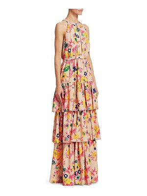 MSGM floral tiered sleeveless gown