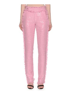 MSGM High Waister Sequin Tweed Trousers