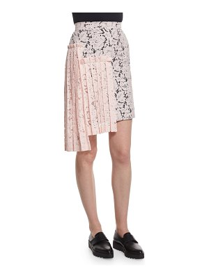 MSGM Lace Asymmetric-Pleated Pencil Skirt