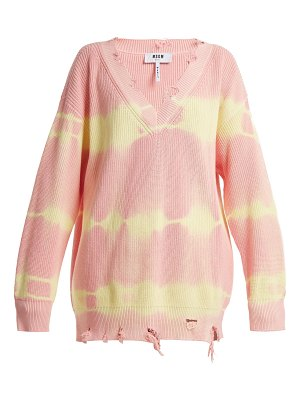 MSGM Msgm - Oversized Distressed Tie Dye Cotton Sweater
