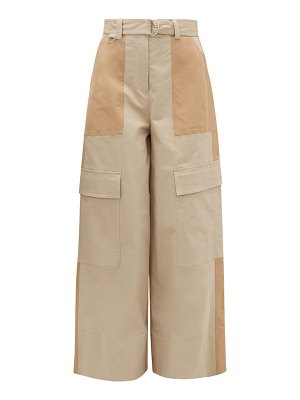 MSGM panelled stretch-cotton wide-leg trousers