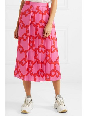 MSGM pleated printed crepe midi skirt