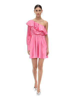 MSGM Pm one shoulder ruffled satin mini dress