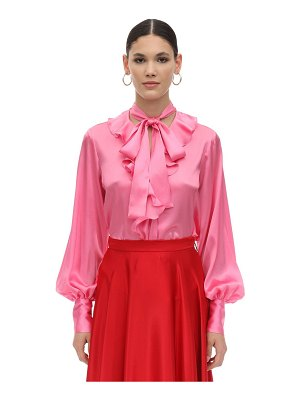 MSGM Pm ruffled satin shirt