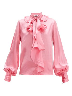 MSGM ruffled pussy-bow satin blouse