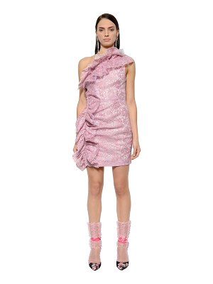 MSGM Ruffled waxed lace mini dress