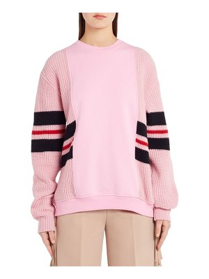 MSGM stripe mixed media sweater
