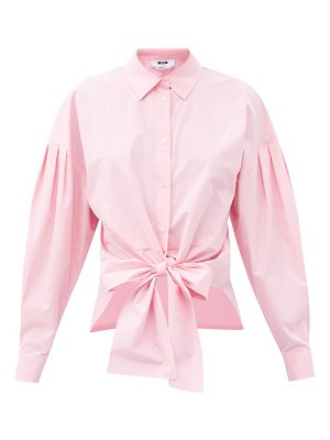 MSGM tie-front cotton shirt