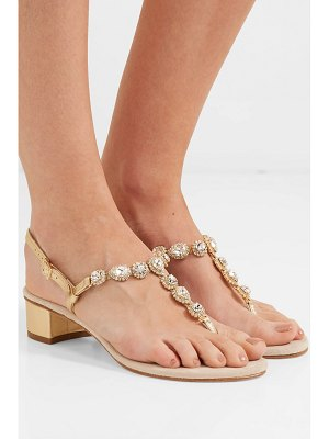 Musa crystal-embellished textured-leather and suede slingback sandals