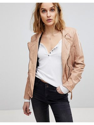 MUUBAA Kendyll Weathered Upturned Collar Leather Biker Jacket