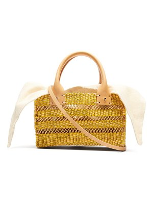 MUUÑ carrie canvas and woven straw bag
