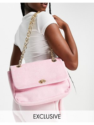 My Accessories london exclusive chain cross body bag in pink towelling