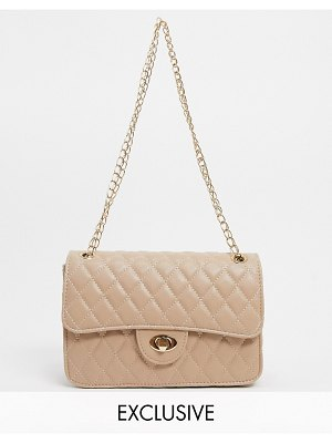My Accessories london exclusive quilted chain cross body bag in camel-beige