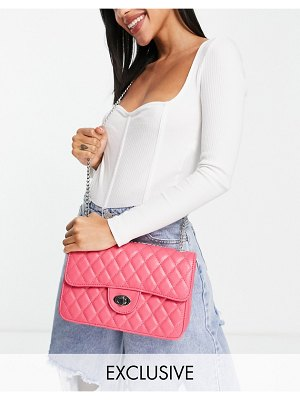My Accessories london exclusive quilted chain cross body bag in pink
