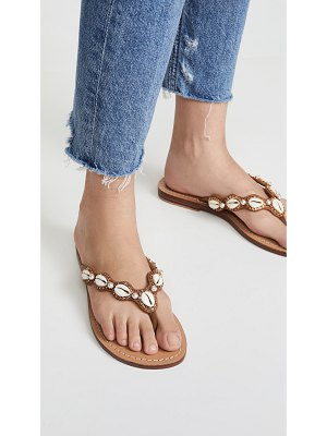 MYSTIQUE shell embroidered flip flops