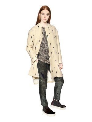 N°21 Brush stroke print wool ottoman coat