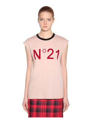 N°21 Logo cotton jersey sleeveless t-shirt