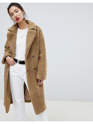 NA-KD big collar teddy coat in brown