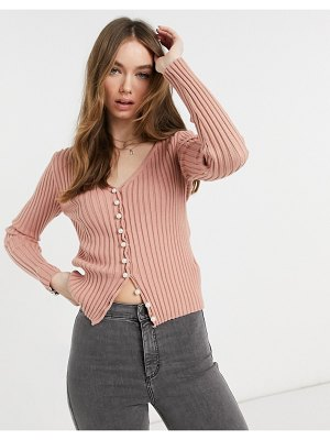 NA-KD faux pearl button cardigan in dusty pink