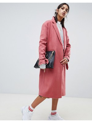 NA-KD tie sleeve tailored coat in pink