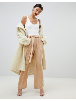 NA-KD wide leg pants with tie waist in camel