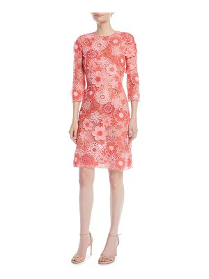 Naeem Khan 3/4-Sleeve Floral Lace-Guipure Sheath Dress