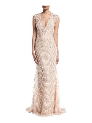 Naeem Khan Deep-V Cap-Sleeve Beaded-Embellished Column Evening Gown