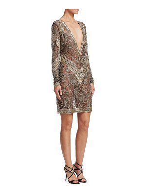 Naeem Khan deep-v embroidered cocktail dress