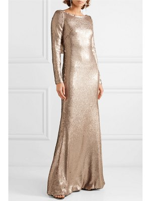 Naeem Khan draped sequined chiffon gown
