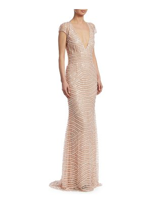 Naeem Khan embroidered v-neck gown