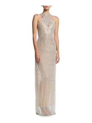 Naeem Khan Halter-Neck Sleeveless Beaded-Embroidered Evening Gown
