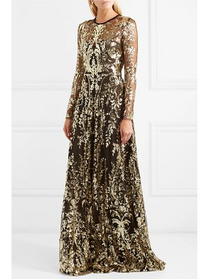 Naeem Khan hooded velvet-trimmed sequined tulle gown