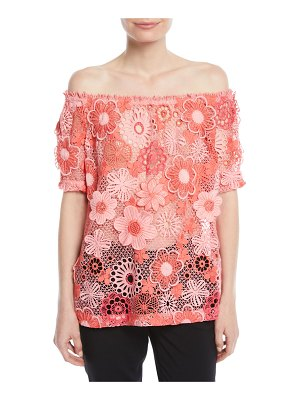 Naeem Khan Off-the-Shoulder Floral Lace-Guipure Top