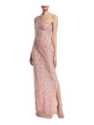 Naeem Khan One-Shoulder Beaded Evening Gown
