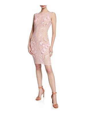 Naeem Khan Sleeveless Geometric Lace Dress