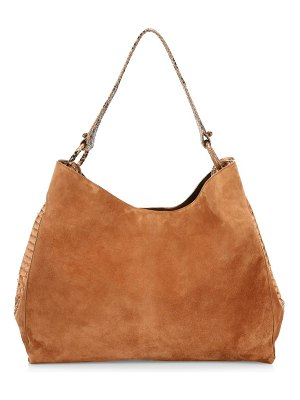 Nancy Gonzalez large marly python-trimmed suede hobo bag