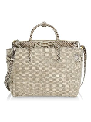 Nancy Gonzalez medium cristie python-trimmed linen satchel
