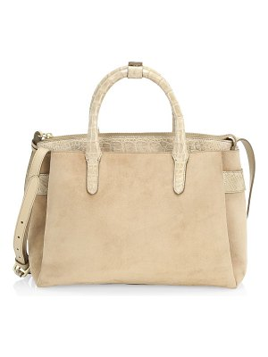 Nancy Gonzalez small cristie crocodile-trimmed suede satchel