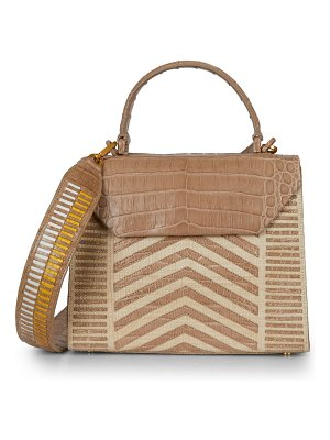 Nancy Gonzalez tina craig x  lily chevron crocodile & raffia top handle bag