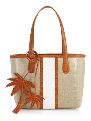 Nancy Gonzalez tina craig x  mini erica linen & leather tote bag